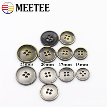 Meetee 10pcs 15-23mm Metal Button Ancient Bronze Four Eyes Sewing Buttons Suit Coat Decorative Buckle DIY Hand Accessories E4-33