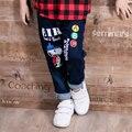 2017 new fashion children's jeans 1-4 year old boy girl cartoon monkey printing wild children's trousers hot children's clothing