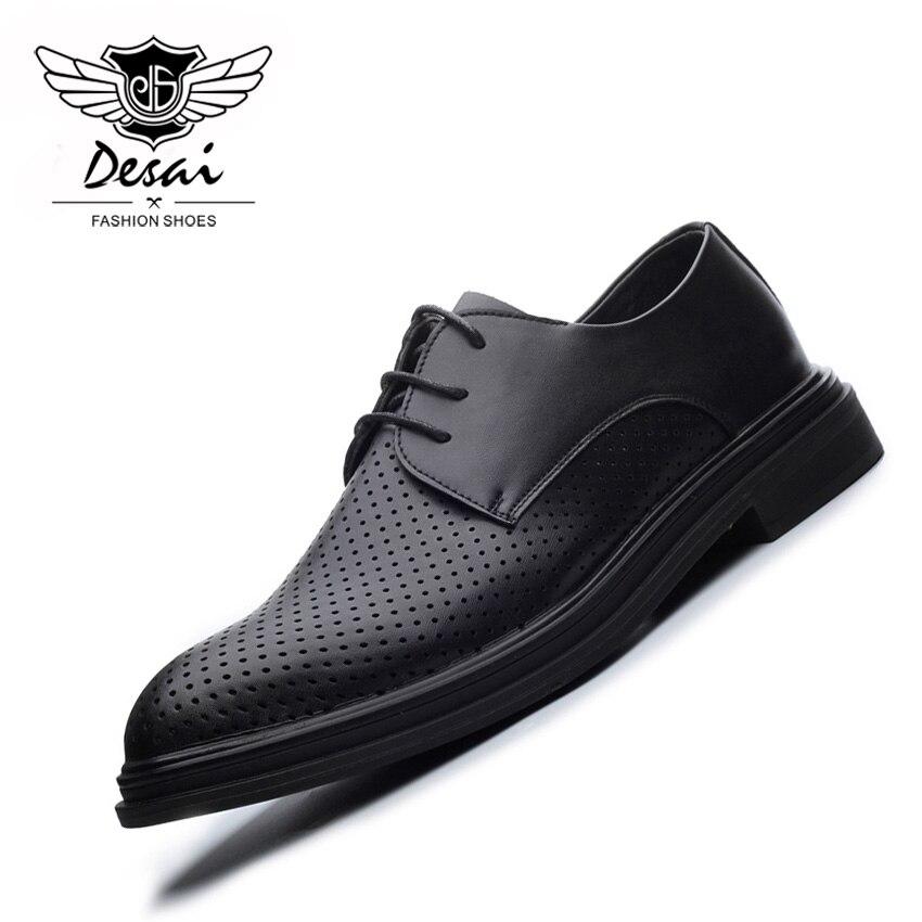 DESAI Creux Respirant Chaussures Hommes D'été Automne Britannique Pointues De la Mode Robe D'affaires chaussures pour hommes Poinçon Sandales Hommes chaussures décontractées