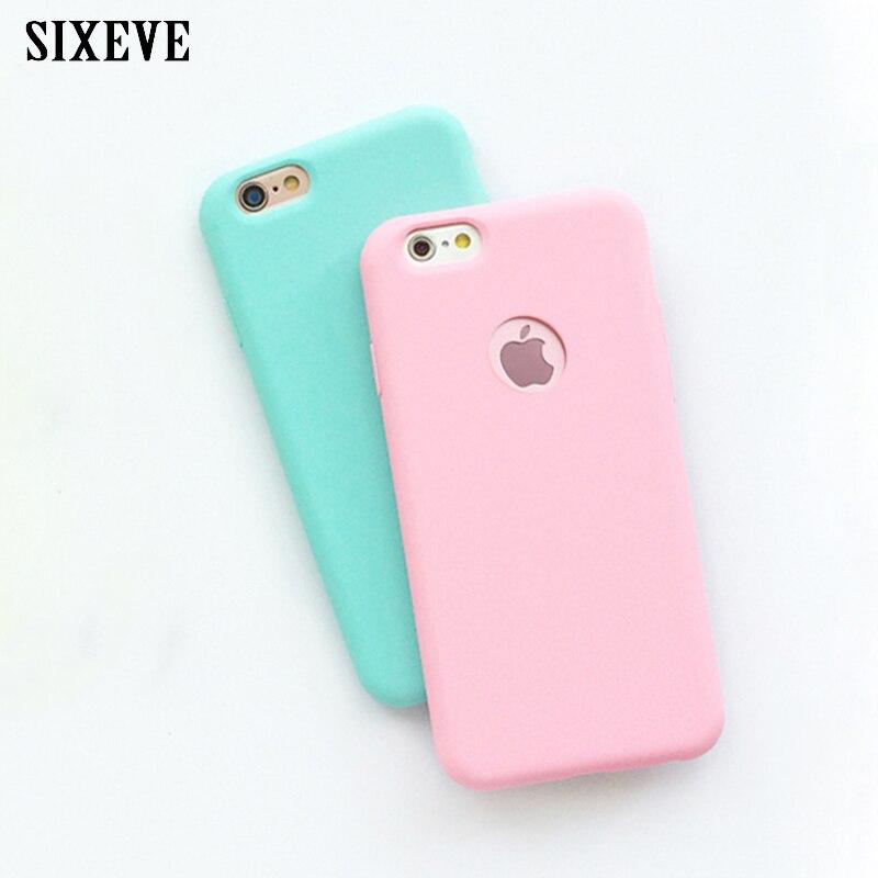 Чехол SIXEVE для iPhone, мягкий матовый Силиконовый чехол карамельных цветов для iPhone 6, 6 s, 7, 8 Plus, X, 10, 5, 6 s, 6Plus, 6 s Plus, 7Plus, 8 Plus Специальные чехлы      АлиЭкспресс