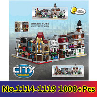 6 in 1 Model building kit compatible with lego city mini Creators serie town hall Brick Bank Model Building 10251 10224 1000+pcs