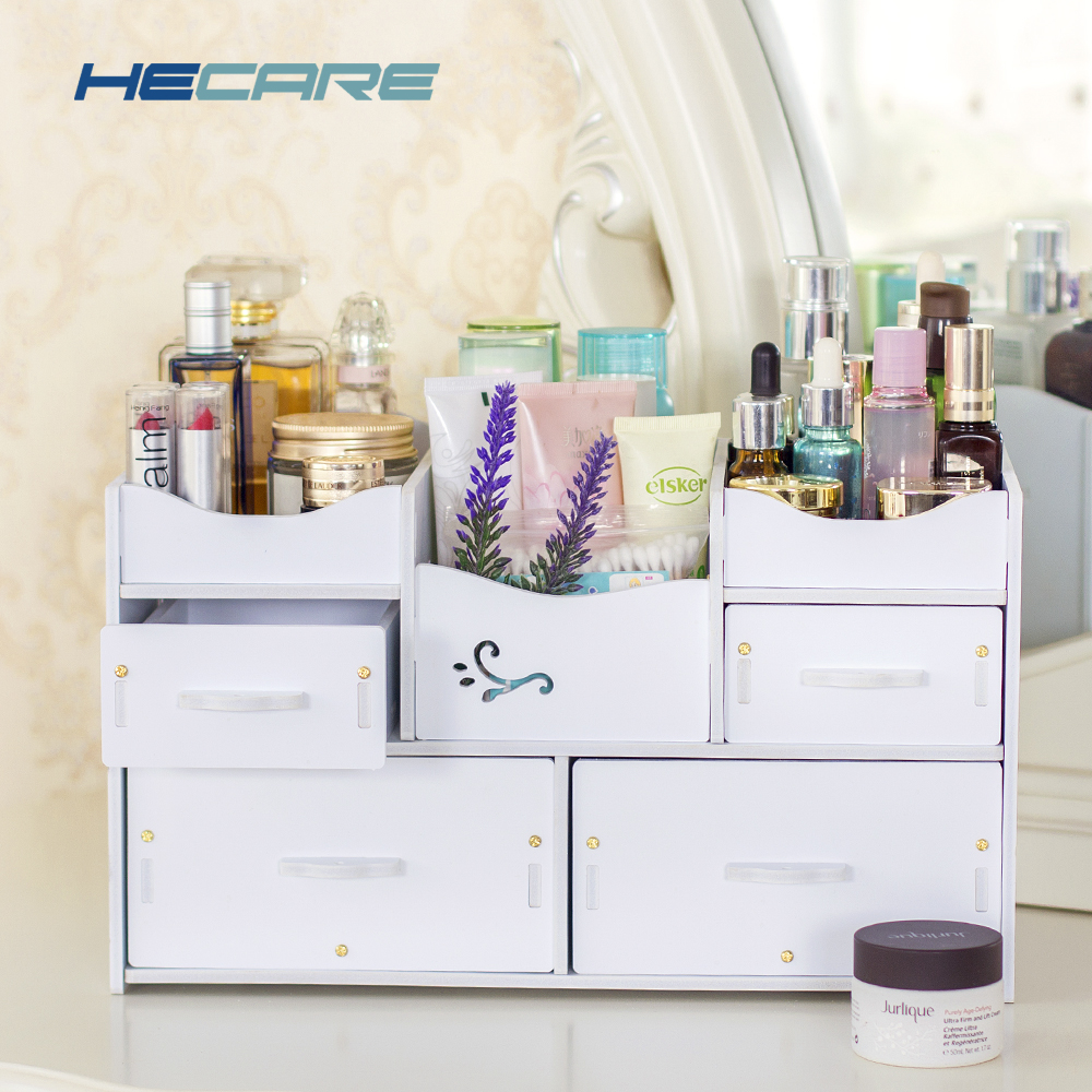 HECARE Plastic Makeup Organizer Vanntett Kosmetisk Container Smykker Container for Kosmetisk High-Capacity Make Up Storage Case