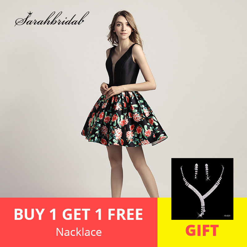 New Arrivals Floral Print Short Prom Dresses With V Neck Homecoming Party Dresses Cocktail Dresses 8th Grade Dresses LSX434