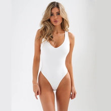 Swimwear women 2019 new solid color one-piece swimsuit back strap with personality design bikini one piece