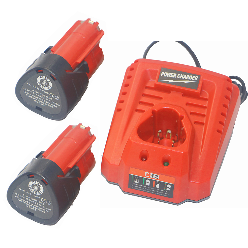 2 Pack 12V 2000mAh M12 48-11-2410 Battery +charger for Milwaukee 48-11-2420 48-11-2401 48-11-2402 REDLITHIUM Cordless tool 3pcs 12v lithium ion 1500mah power tool rechargeable battery with charger replacement for milwaukee m12 48 11 2401 48 11 2402 page 5