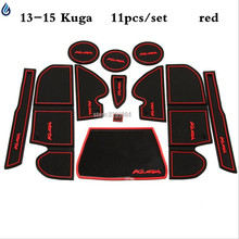 Car Accessories for Ford Kuga 2013-2015 Non-slip Pad Gate Slot Pad Interior Door Mats Cup Mat Styling Red/blue/white