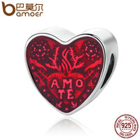 BAMOER 925 Sterling Silver Latin Love Heart Transparent Cerise Enamel Charms Fit Bracelet Necklaces Jewelry Accessories