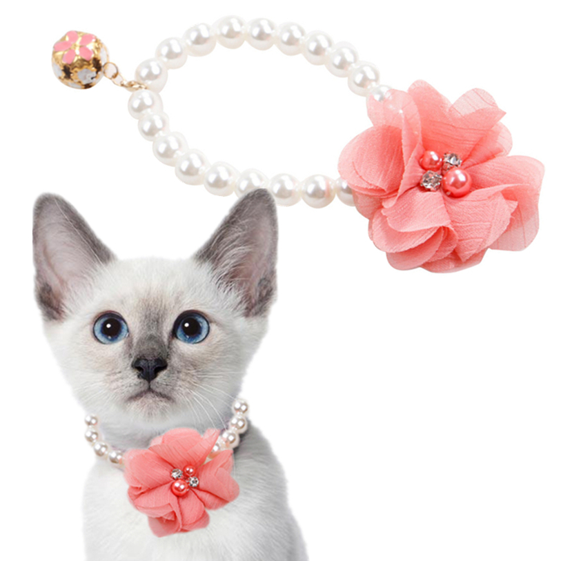 Abs Pearl Collar For Cats With Bell Lace Flower Pendant 1pc Adjustable Pet Cat Jewelry Necklace Pet Product Coleira Gato Noja1