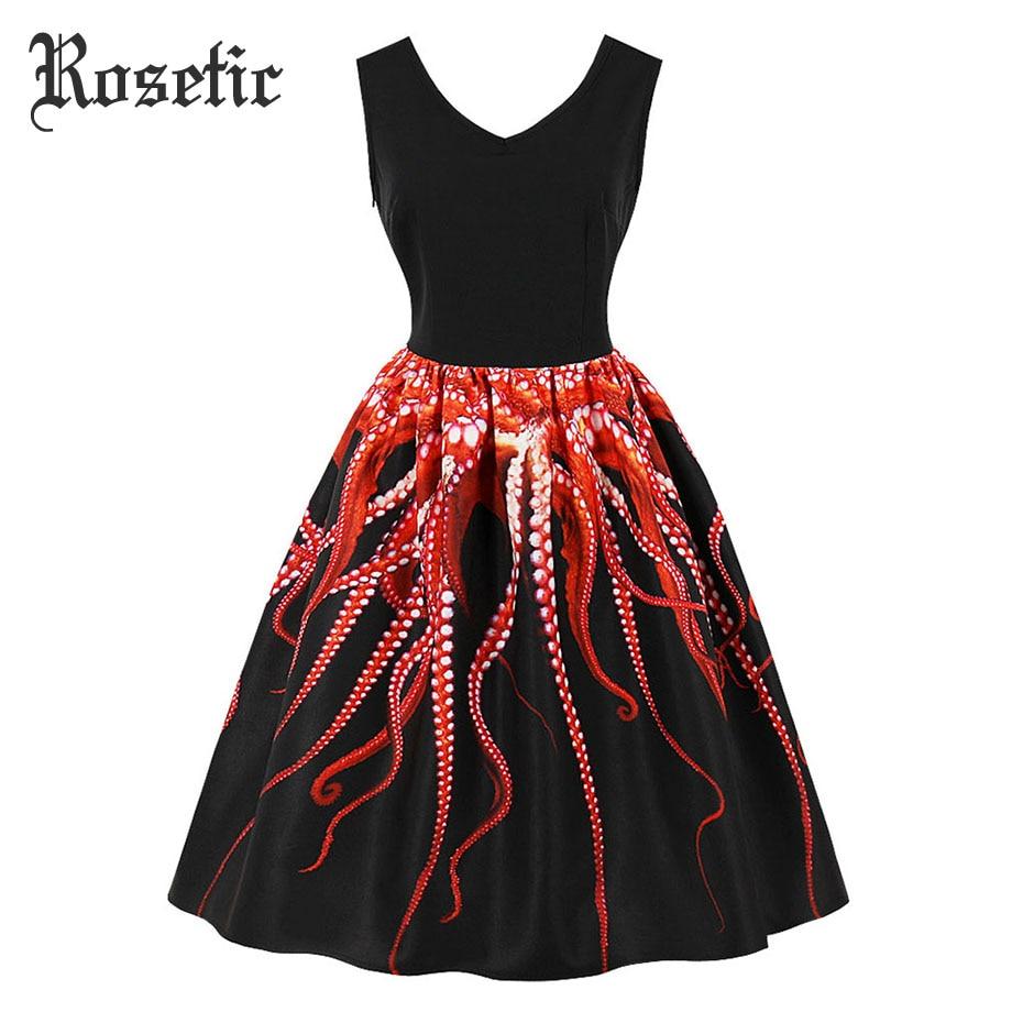 Rosetic Gothic Vintage Casual Dress Print Animal Women Summer Pullover Party Black Elegant Birthday Gift Prom Retro Goth Dresses