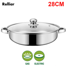 28CM Stainless Steel Soup Pot 1-Layer pot Induction Cooker Soup Pot For Home Cookware sraintech mini multi cookers 1 5l food grade stainless steel hot pot cooker electric steamed soup pots perfect for dorm and home