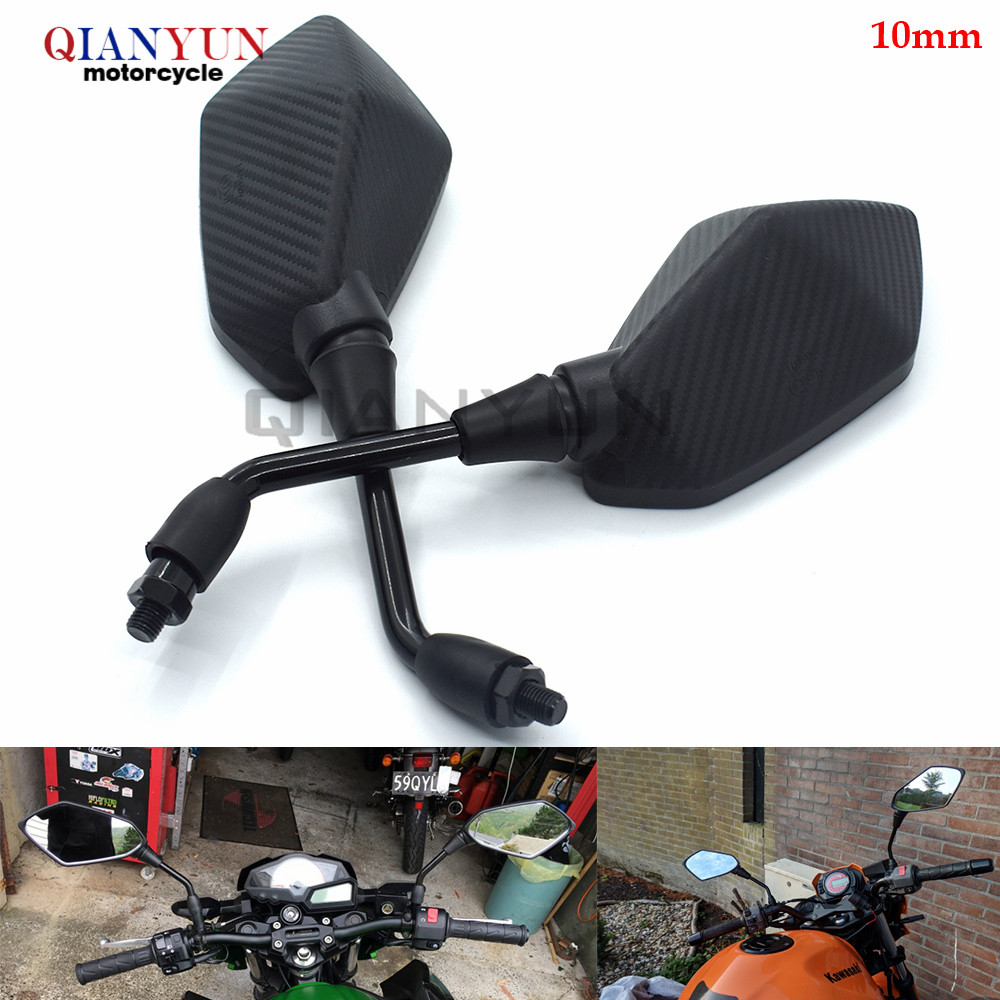 Universal 10mm Motocycle clear Rearview Side Mirror Black For Honda CBR500R CB500F CB500X 2013 2014 CBR 500R CB500 F/ X