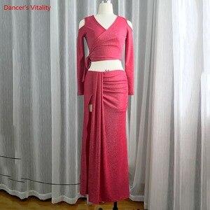 Image 4 - חדש נשים בטן ריקוד ללבוש ארוך שרוולים למעלה + ארוך חצאית סט תלבושות סט עבור בנות ריקוד תחרות סט