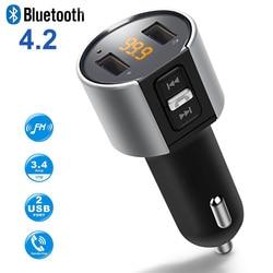 بلوتوث FM الارسال اللاسلكي في سيارة مشغل MP3 V4.2 بلوتوث سيارة عدة FM ناقل موجات الراديو المغير شاحن USB مزدوج ميناء
