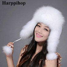 HARPPIHOP fur street hat fox cap lei feng multicolor autumn and winter hats fashion bomber for women