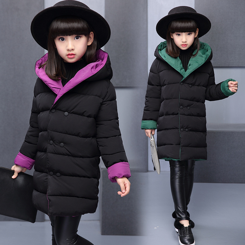 Kids Down Coats Girl Jacket Girls Double-sided Clothes Warm Jackets For Girls Hooded Wind-proof Kids Winter Hooded Outerwear