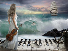 3d Diamond painting landscape 5D DIY sea boat piano cross stitch water diamond embroidery home decoration gift