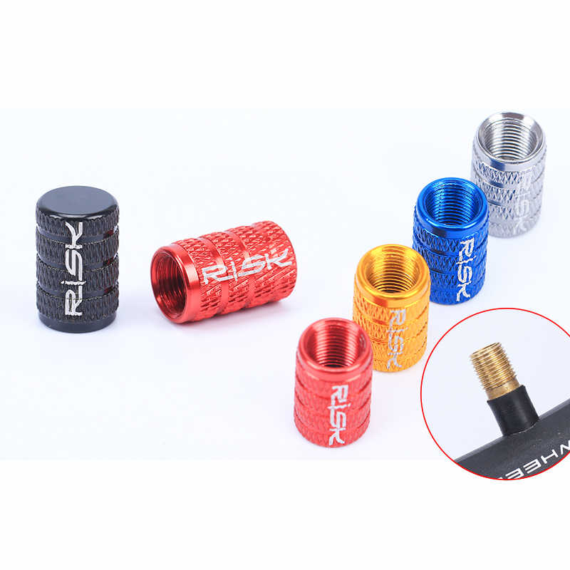 RISK 2Pcs Bicycle MTB Schrader Valve Cap for MTB Bike tubeless ready Tire Covered 7Colors Waterproof Protector