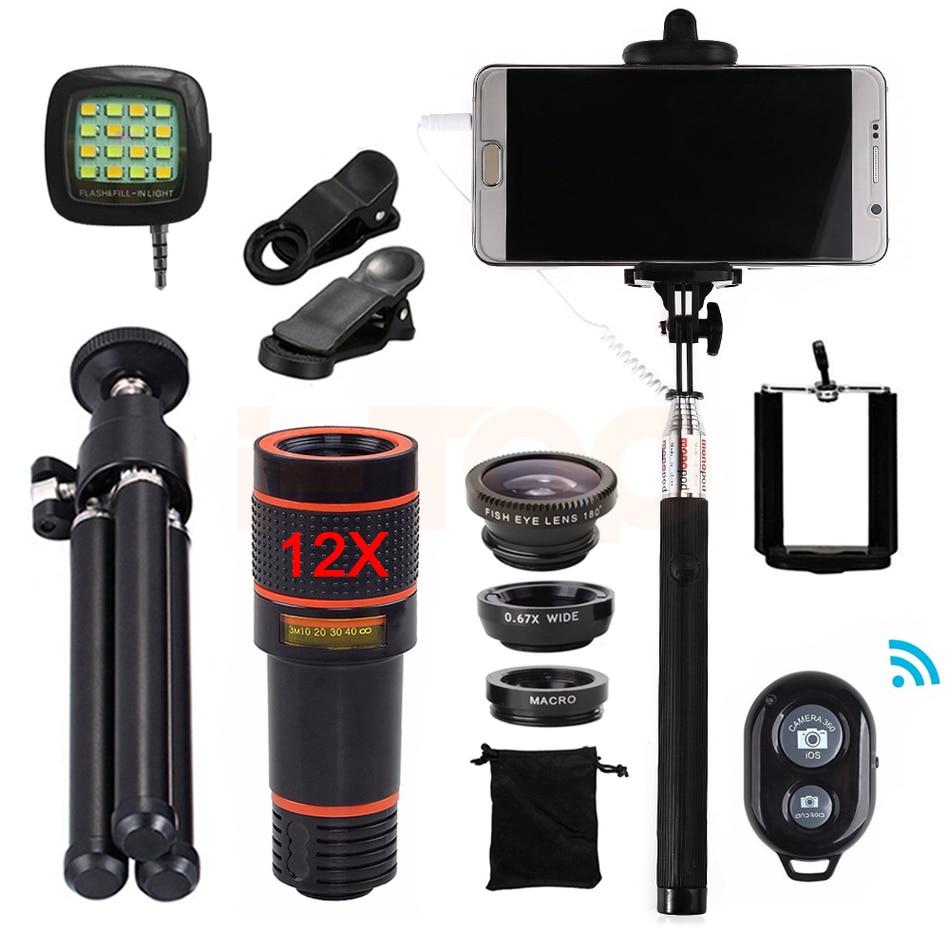 imágenes para Teléfono 15in1 kit 12x lente Zoom Telefoto Lentes de ojo de Pez Gran Angular Macro lentes de Luz de Flash Para el iphone 5 5S Autofoto 6 6 s 7 8 Plus