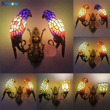 SGROW Stained Glass Parrot โคมไฟผนัง 2 หัว Tiffany ไฟ Led โคมไฟในร่มสำหรับห้องนอน Creative Design Sconce(China)