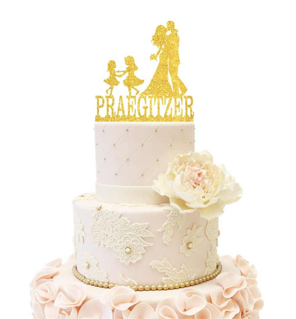 Wedding Anniversary Cakes Topper Couple With Two Dancing Girls Customized Last Name Pink Blue Gold Silver Glitter Shiny Decor Cake Decorating Supplies Aliexpress