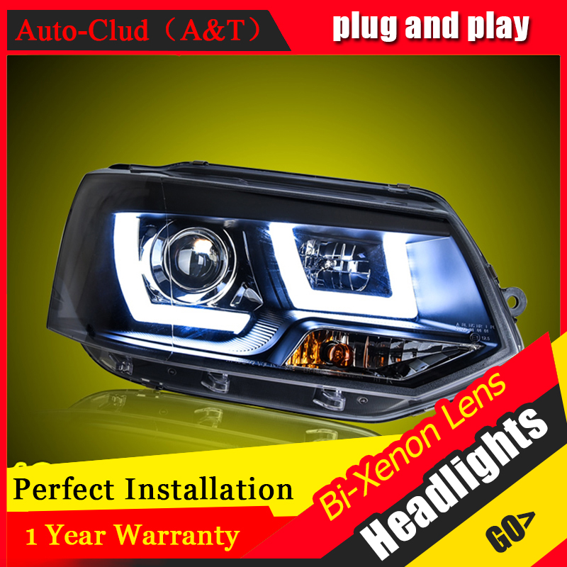 Car Styling For Multivan T5 led headlights 2012-2016 For T5 head lamp Angel eye led DRL front light Bi-Xenon Lens xenon HID KIT electric car motorcycle 15w led headlights modification lens light 12 60v