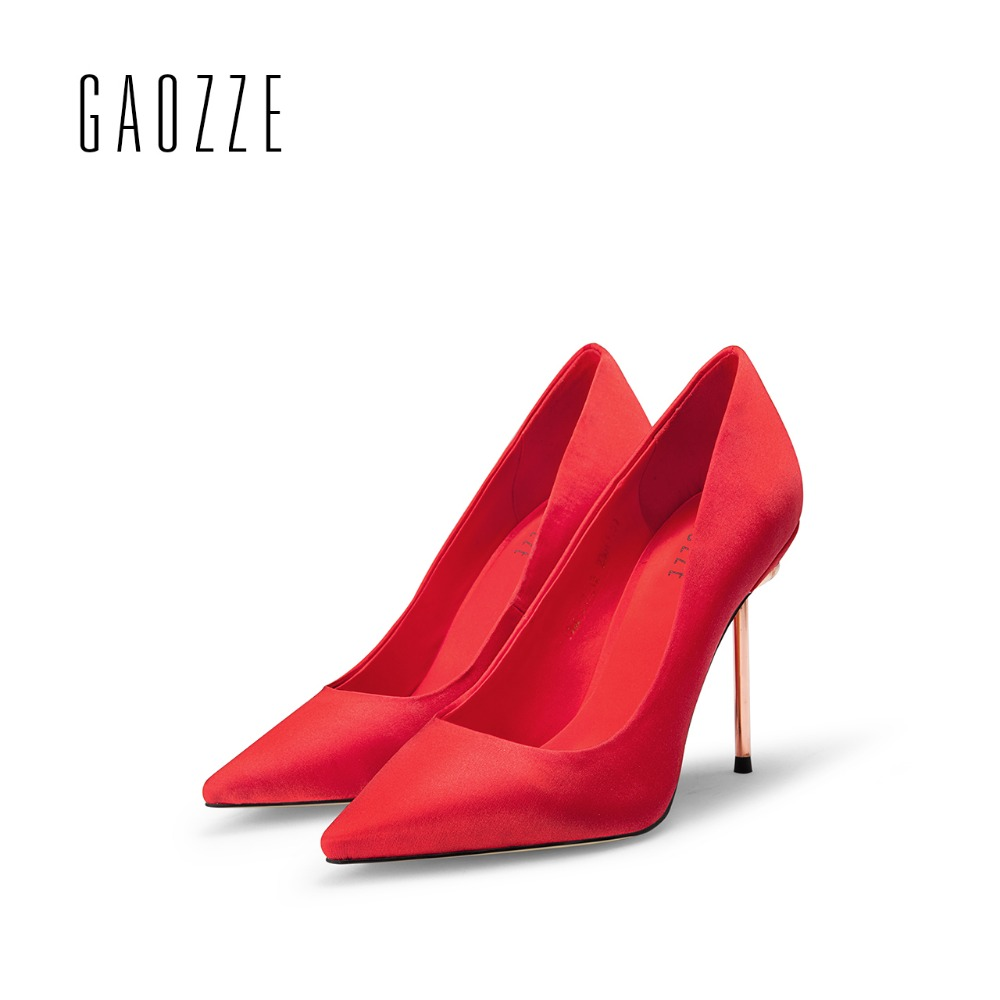 GAOZZE sexy pointed toe high heel pumps for women red wedding shoes shallow mouth silk cloth shoes women luxury 2017 autumn new slhjc women summer autumn flats pointed toe shallow mouth flat heel sandals rivet shoes casual lady shoes