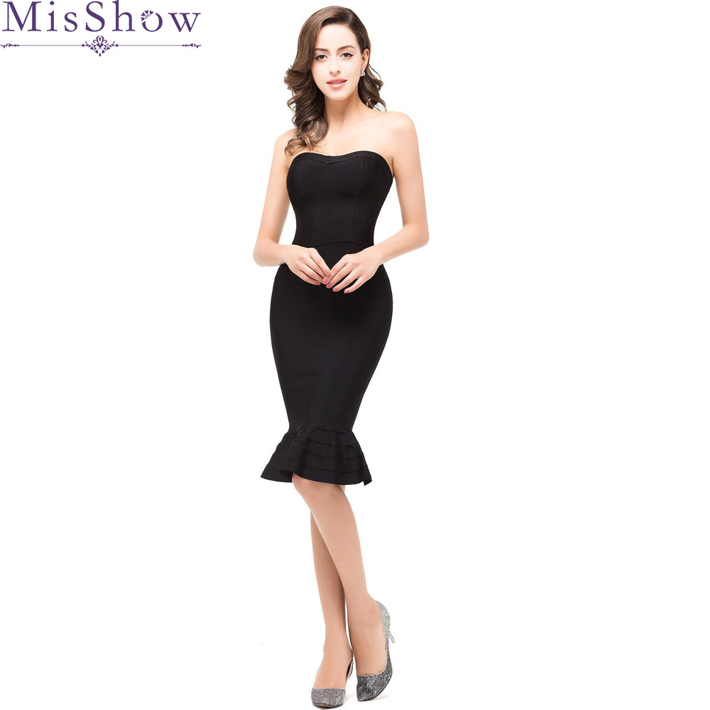 Size 10 16 Black Short Satin Cocktail Dress 2019 Women Knee Length Mermaid Cocktail Party Dresses Vestido Coquetel Factory Direct Selling Price Clearance Weddings & Events