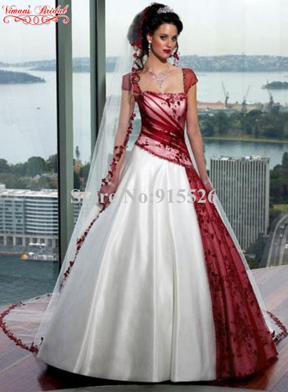 Black dress with touch of red - 2015 White And Red Wedding Gown Appliques Lace Cap Sleeves Lace Up Floor Length Ball