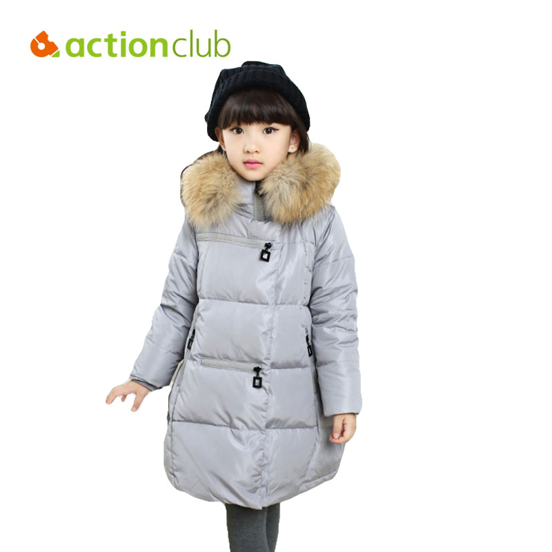 Actionclub Children Winter Jackets Warm Duck Down Clothes For Girls Kids Fur Hooded Outerwear Baby Thicken Long Coat  Parkas winter down jacket for girls kids clothes children thicken coats duck down jackets girls hooded bow snowsuits natural fur coat