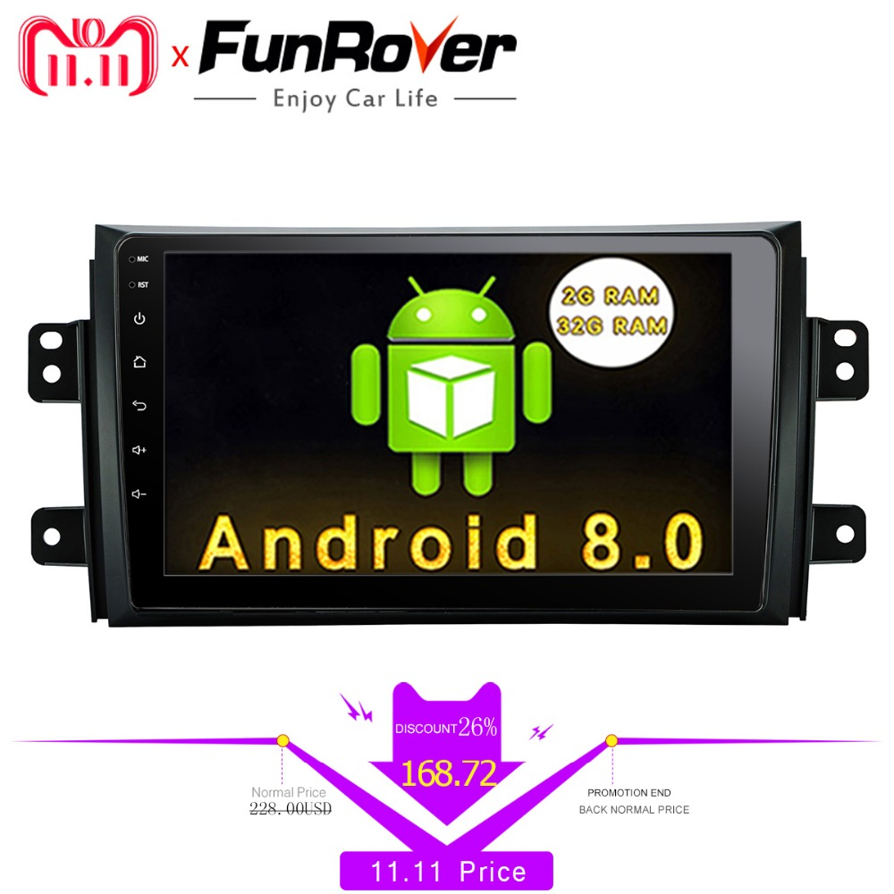 Funrover 9'' Android 8.0 car dvd radio for Suzuki SX4 2006 2007 2008 2009 2010 2011 2012 2013 gps navigation multimedia Player funrover 9 hd quad core ram 2g android 8 0 car navigation gps player for suzuki sx4 2006 2013 wifi rds radio bt fm usb no dvd