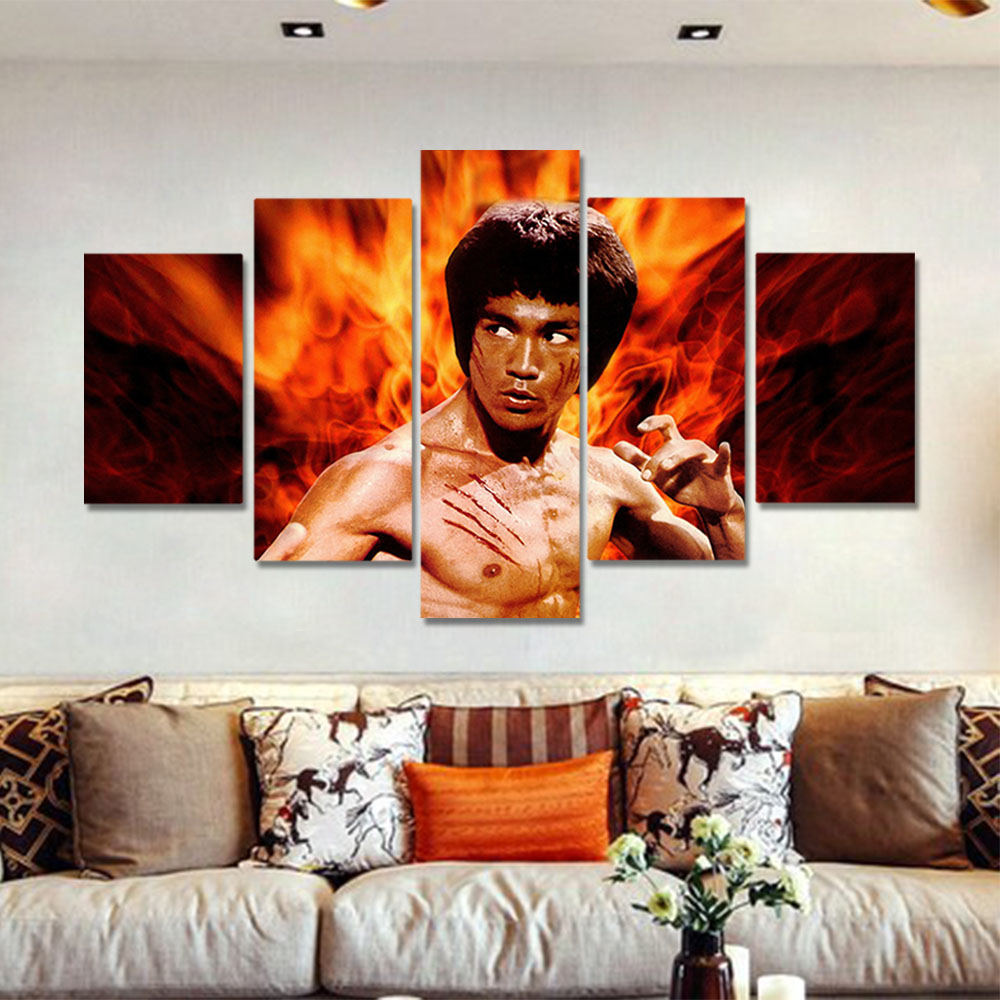 Unframed HD Canvas Prints Movie Poster Bruce Lee Chinese Kongfu Prints Wall Pictures For Living Room Wall Art Decoration