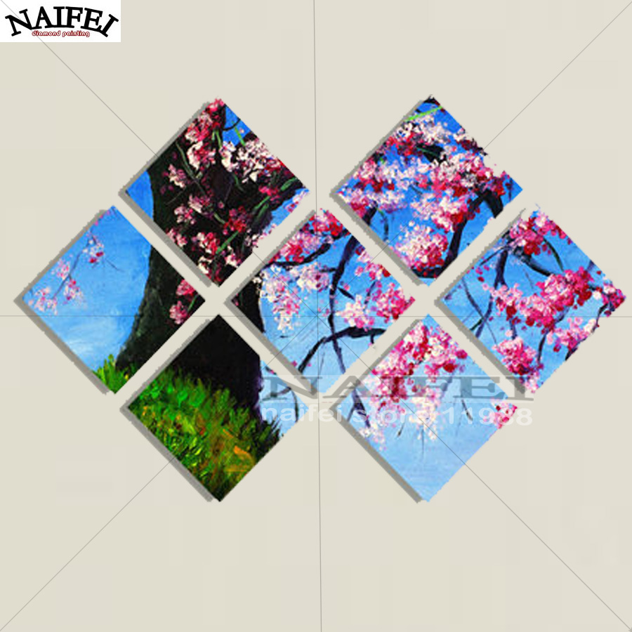 "7 pcs,Full square Diamond Painting Cross Stitch""Cherry Blossom Tree"",5D Diamond Embroidery Mosaic Multi-picture stickers decor"