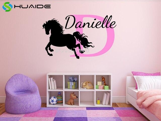 Personalised Horse Name Monogram Wall Stickers For Girls Bedroom Custom  Name Vinyl Wall Decal Baby Nursery