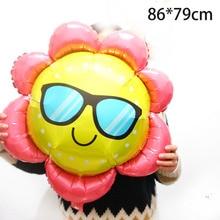 1pc besar matahari Bahan kerajang balon Mainan kanak-kanak dengan belon bunga matahari kaca Ulang Birthday Party Helium Balloon