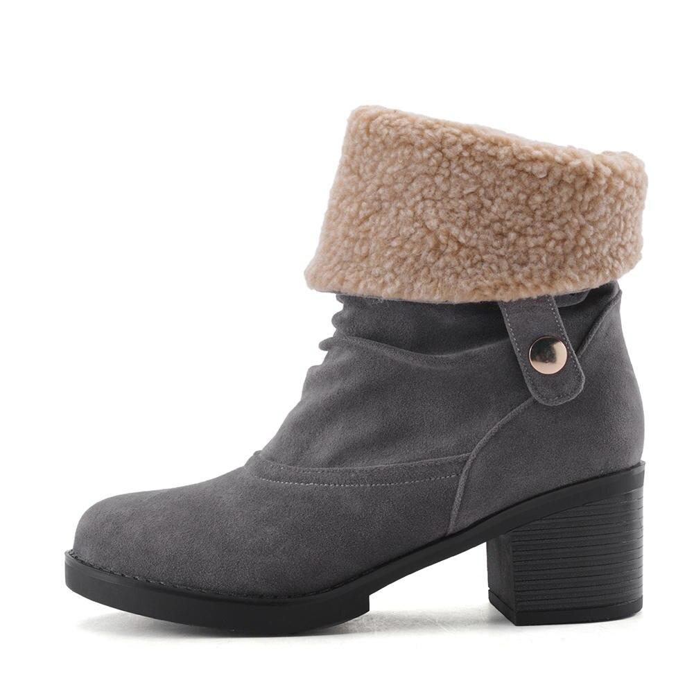 blue gray 2018 Otoño Karinluna With 34 Mujer Zapatos Fur brown blue Elegante brown A Fur Grande black Botas Botines Fur Gray Fur Invierno Añadir Tamaño Estrenar Tacones 43 black Gruesos Rqdq1