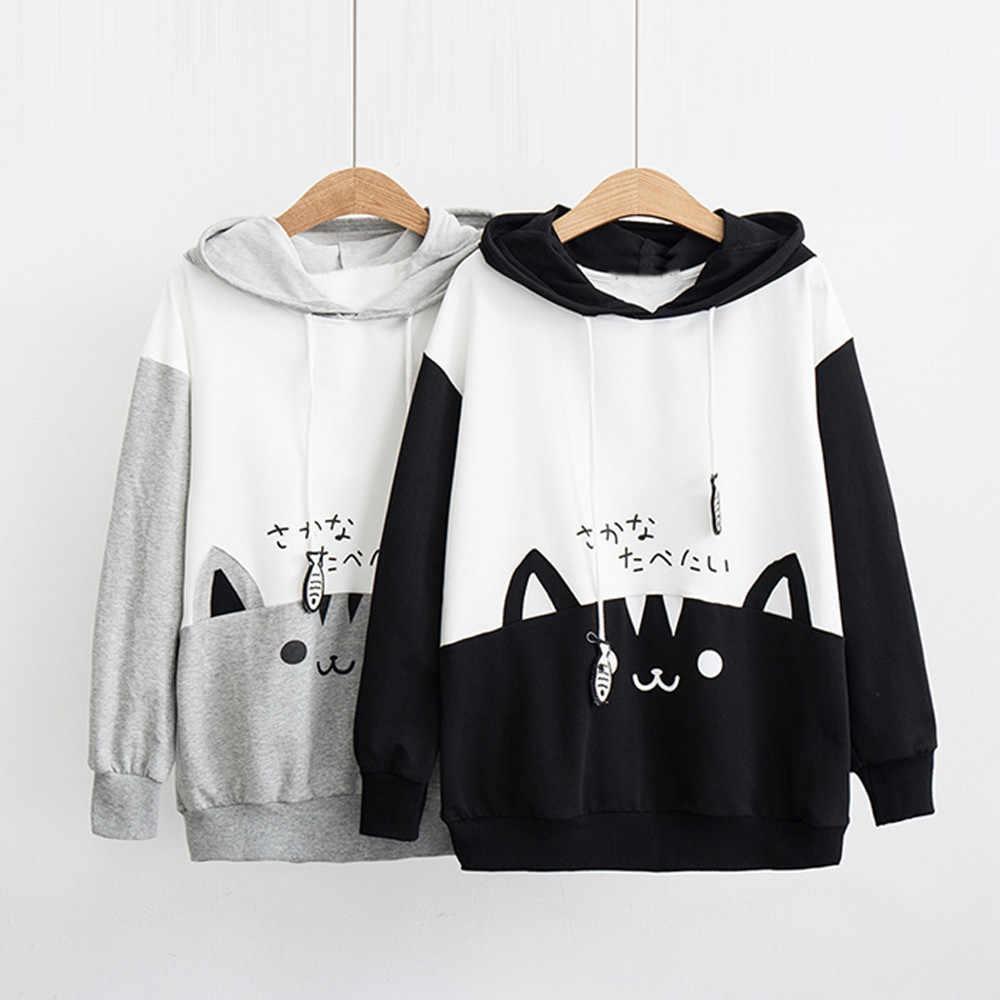 Frauen Koreanische Pop Casual Langarm Kitty Katze Druck Tasche Dünnen Hoodie Bluse Top Hemd Sweatshirt Polerones Ariana Grande L719