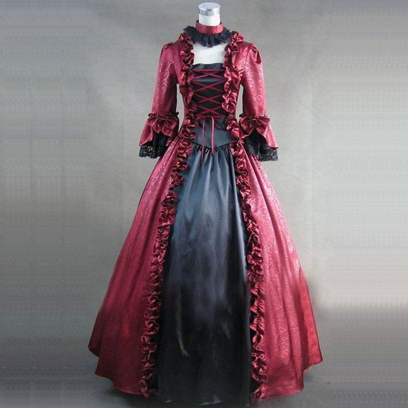Carré rouge Médiévale Femmes Robes Col Antoinette Mascarade Noir Gothique Victorien Et Parti Pour Noir Marie Ruches Rétro Rouge Robe UwUqpRz