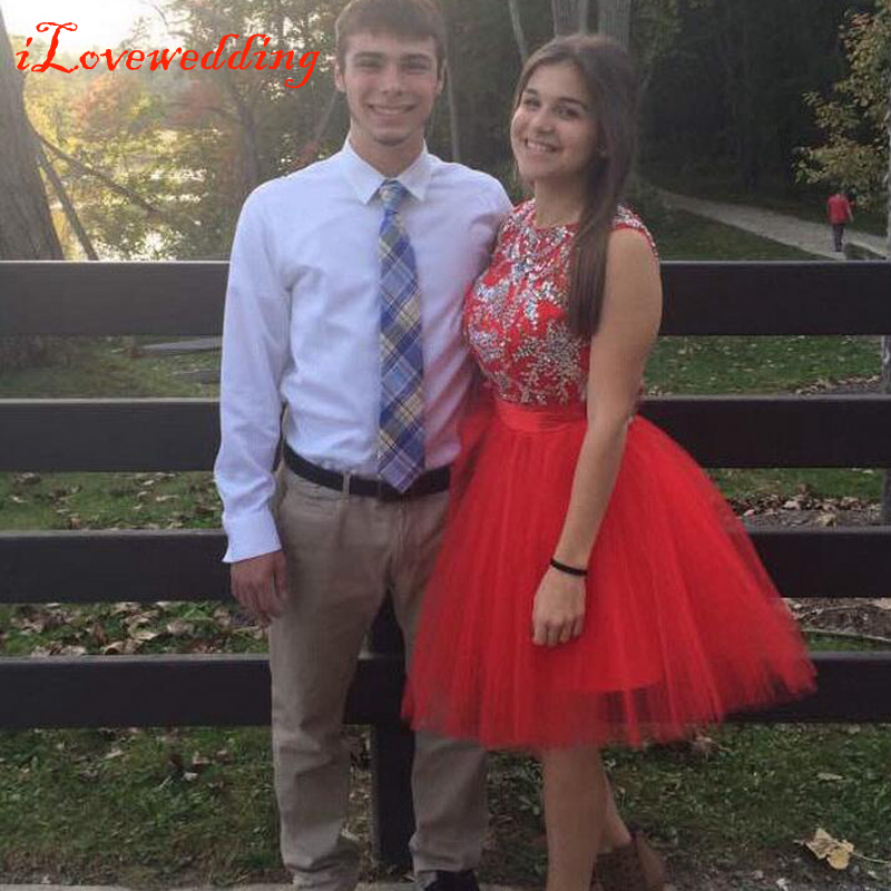 2015 Hot Sale Short Homecoming Dresses Red for Girls Tulle with Beads Open Back with Bow Graduation Dresses for 8th Grade LM010