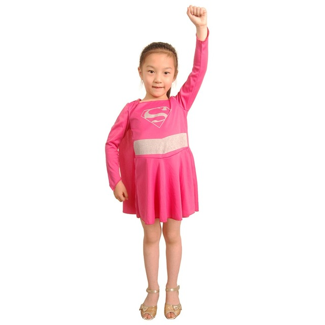Kids Supergirl Costume Baby Girl Pink Superman Costume Supergirl Cosplay Dress with Cloak Superhero Costume Halloween  sc 1 st  AliExpress.com & Kids Supergirl Costume Baby Girl Pink Superman Costume Supergirl ...