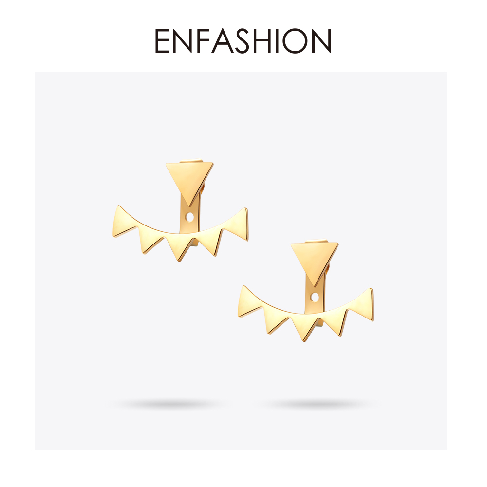 Enfashion Anting Segitiga Geometris Stainless Steel Pejantan Anting Warna Emas Anting-Anting Untuk Wanita Grosir Fashion ...