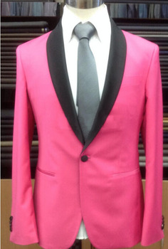 Custom Made To Measure men suit,Bespoke hot pink groom wedding tuxedos with black shawl lapel,tailor made pink suit(jacket+pants