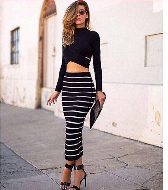Women Fashion Office Lady Short Sexy Two Piece Set Black Solid Crop Tops+Long Striped Pencil Chic Women Nightclub Maxi Skirt Set
