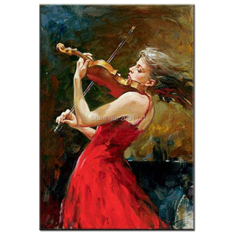 MASTER artwork modern Hand Painted Oil Paintings font b violin b font girl musical art picture