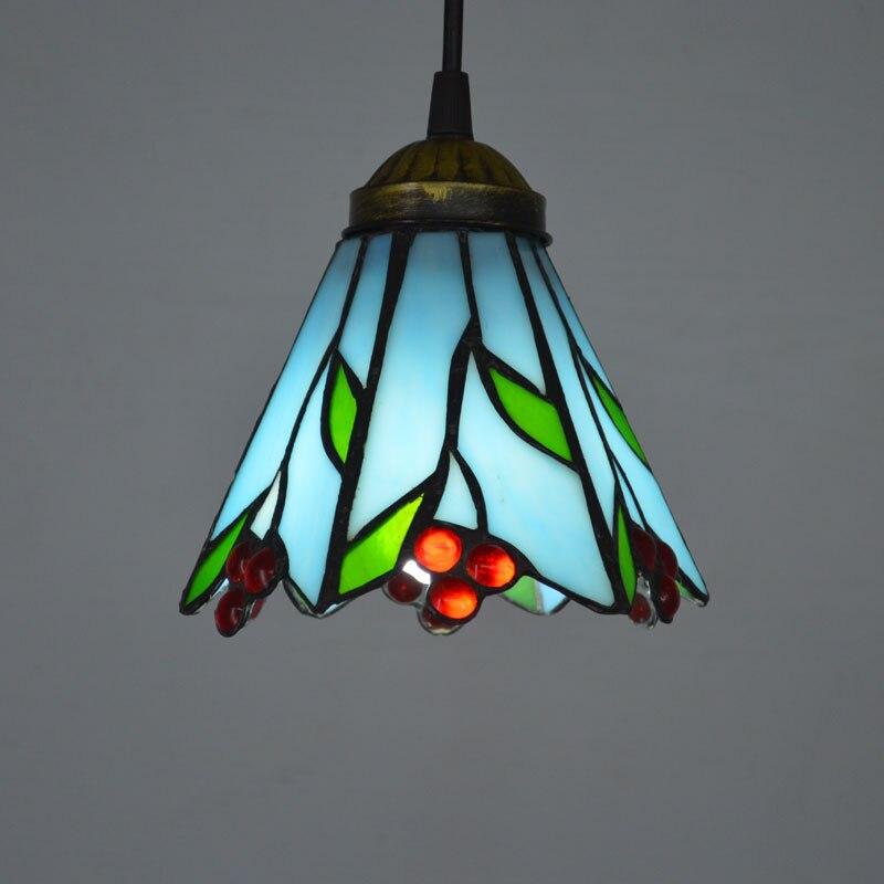 Tiffany Pendant Light Fresh Country Style Glass Lampshade Bedroom Light Fixtures E27 110-240V bask back country light