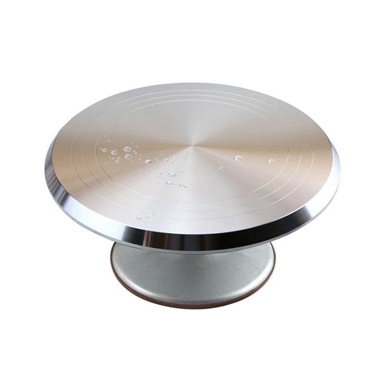 Outil de cuisson 12 pouces en alliage d'aluminium crème gâteau stand plateau tournant base de table tourner autour de la décoration en métal argenté