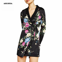 2019 Autumn Spring Women Floral print Blazers and Jackets Coat Outerwear Women Blazer Feminino