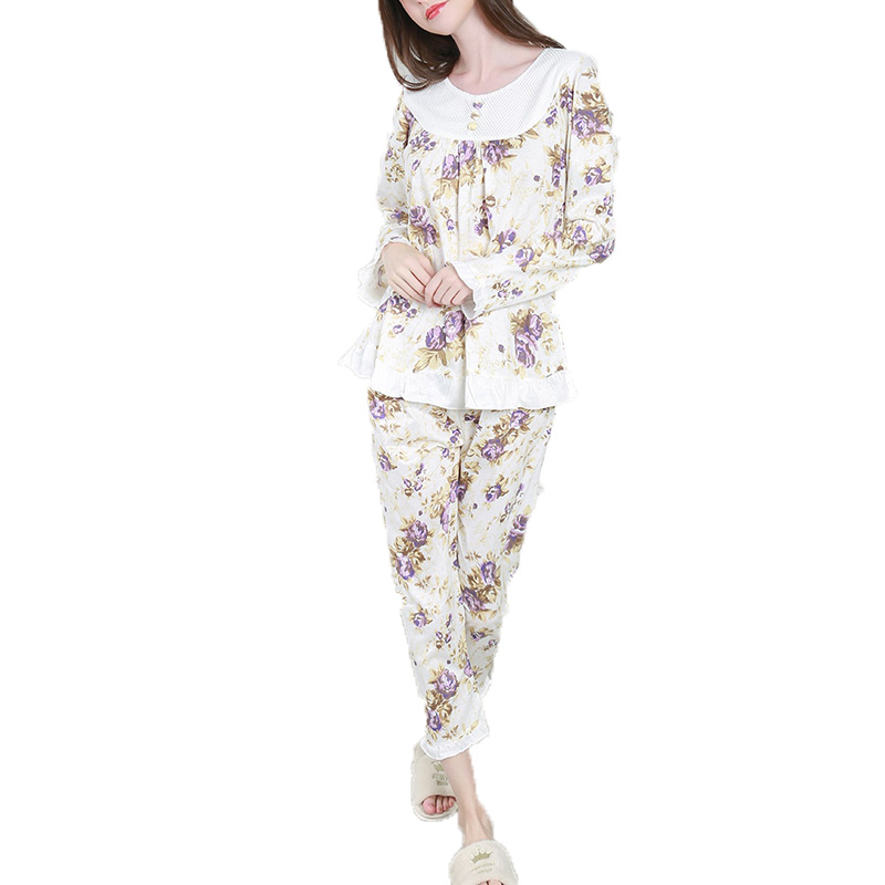 Women's Sleepwear Floral O Neck Long Sleeve Sweet Comfort Pajama Set