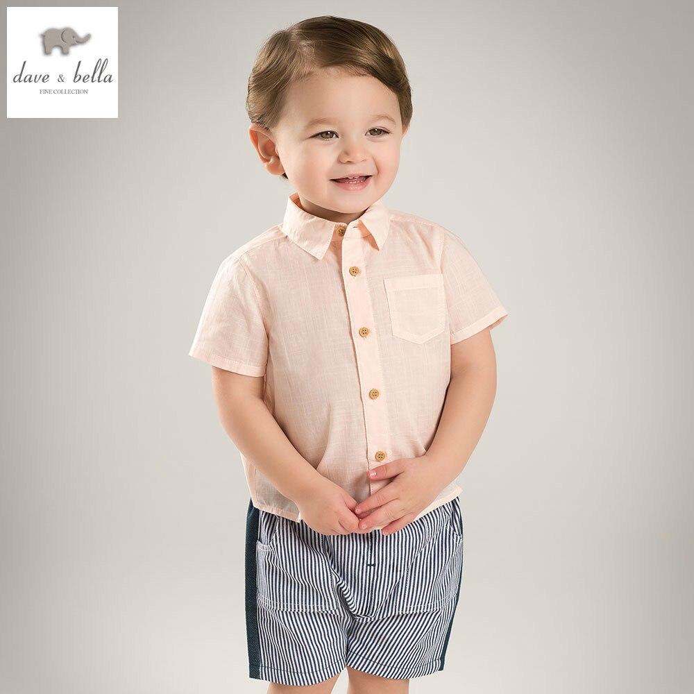 Db5248 Dave Bella Summer Baby Boys Shirts Childs Infant Clothes Kids Pink Shirt Children