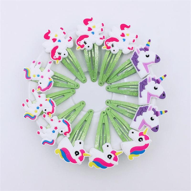 10pcs Gilter Unicorn Hair Clips For Girls Fashion Kids Hairpins Barrettes Cartoon Hairgrip Hair Accessories
