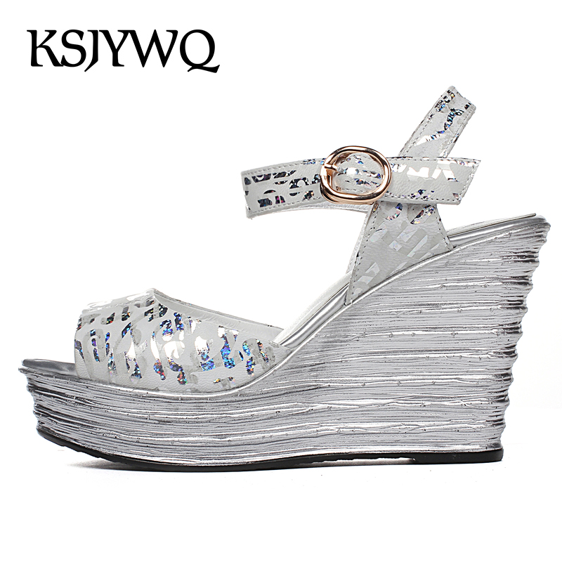 KSJYWQ Summer Women Platform Sandals Leather Open-toe Wedges Thick Soles 10 CM High Heels Buckle Shoes Woman Box Packing F387 woman fashion high heels sandals women genuine leather buckle summer shoes brand new wedges casual platform sandal gold silver